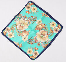 New $140 BATTISTI NAPOLI Turquoise Floral Print Silk Pocket Square Hand-Rolled