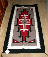 "Hand Woven Wool Throw Rug Southwestern Western 32""x 64"" Tapestry #307"
