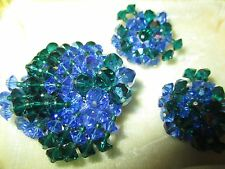 Vtg UNIQUE BLUE AB GREEN Glass  BEADED Cluster CRYSTAL BROOCH & EARRINGS-79