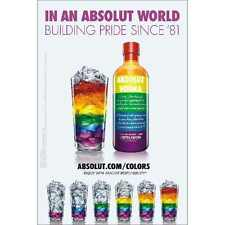 ABSOLUT  world  gay pride poster 24 by 36