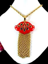 CROWN TRIFARI GOLDTONE CHAIN NECKLACE RED LUCITE CABOCHON PERSIAN GARDEN PENDANT
