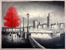 XLarge Hand Painted Oil Painting on Canvas, Black/white London Big Ben Red Tree