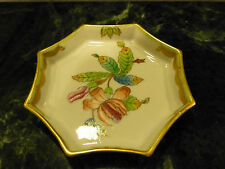 """HEREND china QUEEN VICTORIA Green Border OCTAGONAL DISH 8753 Y80 Ashtray 3-7/8"""""""