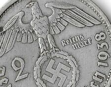 Rare Old Antique Silver 1938-B WWII Germany Nazi Eagle Bullion Collection Coin