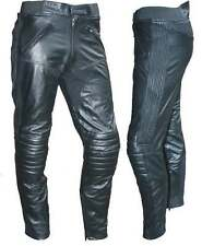 "NEW MENS PREMIUM LEATHER TOURING MOTORCYCLE PANTS CE ARMOUR HIPS KNEES 42"" WAIST"