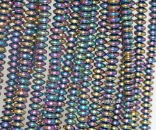 6X3MM TITANIUM HEMATITE GEMSTONE RAINBOW RONDELLE HEISHI 6X3MM LOOSE BEADS 16""