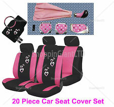 20 PC Girly Pink Heart Car Seat Cover Mat Set Wheel Glove Pads + Tuning Kit