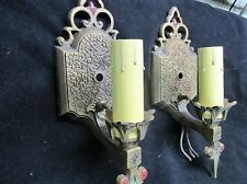 Pair of 2 Vtg Art Deco Aladdin Wall Sconce Lamp Cast Aluminum Poly Crome Paint