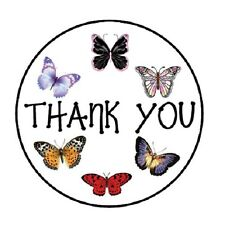 "48 Thank You Butterflies ENVELOPE SEALS LABELS STICKERS 1.2"" ROUND"