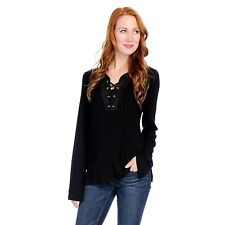 NEW Fair Child Stretch Knit Long Sleeved Faux Suede Trim Lace-up Top - Sz M