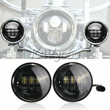 "2x 4-1/2"" Black LED Auxiliary Spot Fog Passing Light Fr Harley Street Glide FLHX"