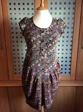 MINA UK - Short Black & Multi Body Con Tunic Dress - Small / Medium - Chest 32""