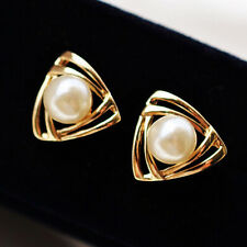 Fashion Women New Gold Plated Crystal Pearl Elegant Ear Heart Stud Earrings Gift