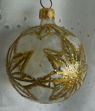 Vintage Christmas Glass Ornament Poland Gold Glitter Poinsettia Star Frost White