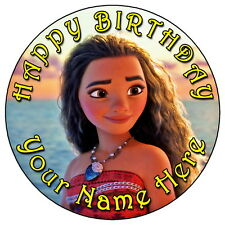 "MOANA PRINCESS PARTY - 7.5"" PERSONALISED ROUND EDIBLE ICING CAKE TOPPER"