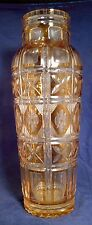 "Val St. Lambert Amber Cut to Clear Cylinder Vase 18""!"