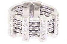 Heavy 18k white gold .15ct VS2-G diamond cable cocktail ring size 5.5