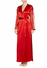 La Perla Floralia Collection S Long Silk Robe Red Sheer Sleeves New $1148