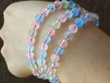 Natural Colorful Morganite Gemstone Clear Round Beads Bracelet 7mm AAAA