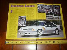 1989 SALEEN SSC MUSTANG  - ORIGINAL 1999 ARTICLE