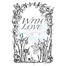 Sweet Dixie Clear Stamps Dragonfly With Love flowers border frame cardmaking art