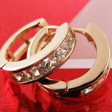 FS751 GENUINE REAL 18K ROSE G/F GOLD SOLID DIAMOND SIMULATED HUGGIE EARRINGS