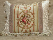 SPECTACULAR 19TH C AUTHENTIC FRENCH AUBUSSON ANTIQUE TAPESTRY PILLOW #1