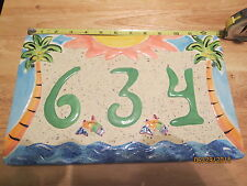 """Island Tiles Outdoor House Ceramic Number Sign """"634"""" Made in Florida *Solid*"""
