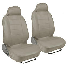 Beige Tan PU Leather Car Seat Covers - High Back Deluxe Leatherette Pair