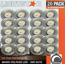 20 x DIMMABLE LED Fixed Downlight Kits Satin Chrome 10W 600Lm 240V GU10 Warm