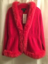 NWT XL Venesha ANGORA Pink REAL FOX FUR COLLAR & TRIM Jacket CARDIGAN SWEATER