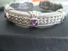 JUDITH RIPKA 925 Sterling Silver and Amethyst Hinged Cuff Bracelet w Gift Box