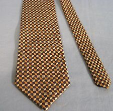 NAUTICA GOLD WHITE BLUE SHAPES 100% SILK  TIE NECKTIE