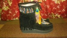 Women's black Fringe boots peacock feather embroidery Indian 39 US 8.5 *Small