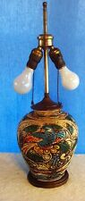 Vintage Oriental Asian Ginger Jar Hand Painted Parrot Table Lamp Light