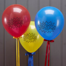 Comic Book Superhero Party Balloons - Red, Yellow & Blue - pack of 10