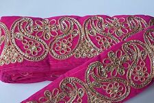 ATTRACTIVE INDIAN PAISLEY EMBROIDERY LACE TRIM -VELVET WIDE (PINK)-SOLD by METER