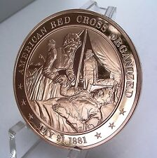 +1881 American RED CROSS Organized FRANKLIN Mint Solid BRONZE Medal Uncirculated