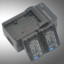 Mains Charger +2x Battery for VW-VBY100E Panasonic HC-V110 HC-V110G HC-V110GK
