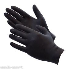 TATTOO SALON GLOVES BLACK LATEX POWDER FREE (100/BOX)  MEDIUM 100'S