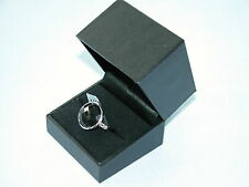 LOT 141 BLACK ONYX + WHITE TOPAZ SOLID STERLING SILVER RING SIZE N - RRP £150