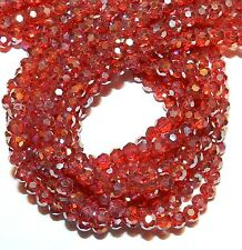 CRB564L2 Siam Red AB 6mm Faceted Round Crystal Glass Beads 21""