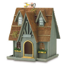 Thatch Roof Wood Cottage Chimney Birdhouse Bird House