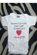 Pregnancy announcement onesie New Grandparents baby shirt due date one piece