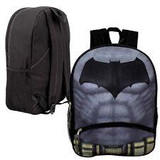 "16"" Large Backpack BATMAN LOGO Kids Boys School bookBag w/ Front Pencil Pocket"