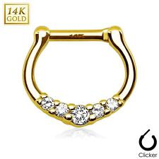 Five CZ Paved 14Kt Solid Yellow Gold Septum Clicker Hanger Nose Rings F84