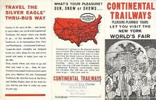 1954 CONTINENTAL TRAILWAYS BUS System Map Brochure New York World's Fair Rockies