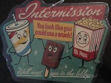 VINTAGE STYLE EMBOSSED TIN METAL INTERMISSION SIGN  SNACK BAR. theater room.