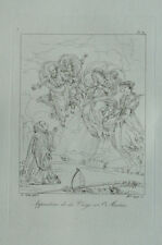 Apparition de la Vierge à Saint Martin d'après Eustache le Sueur Gravure 19em