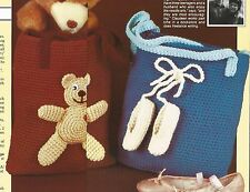 Crochet Pattern ~ KIDS TOTE BAGS Teddy Bear & Ballerina Slippers ~ Instructions